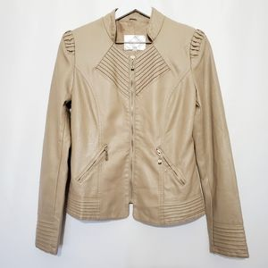 Fevrie Moto Faux Leather Jacket in Tan